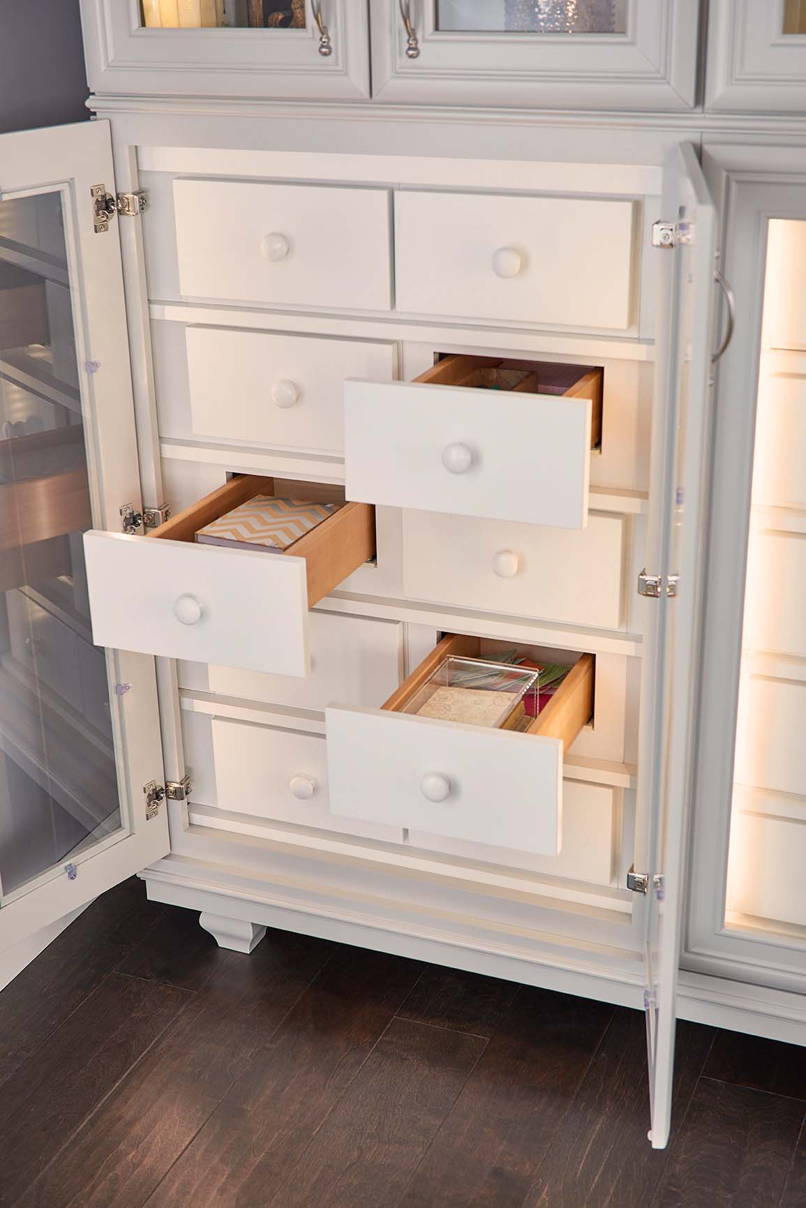 Adding Furniture Drawers adds interest as well storage to this design.