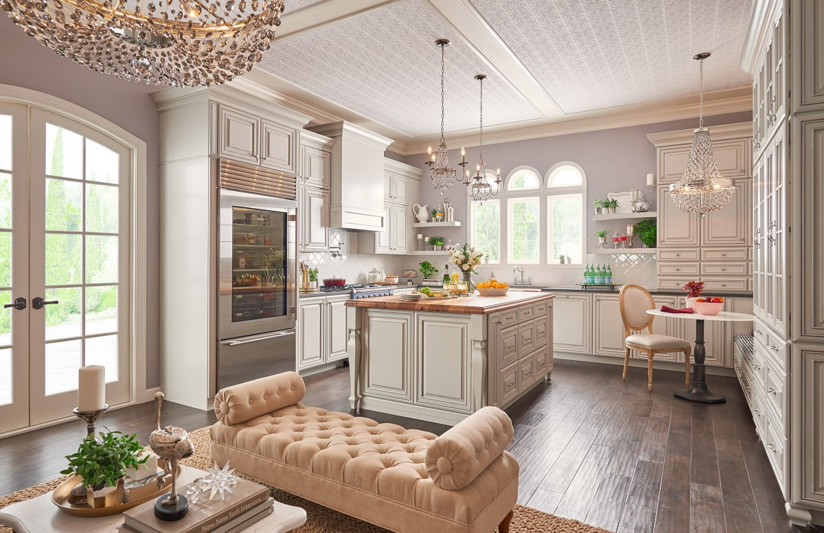 VIew of the kitchen from the seating area. Waypoint cabinetry is used to unify the open-concept space.