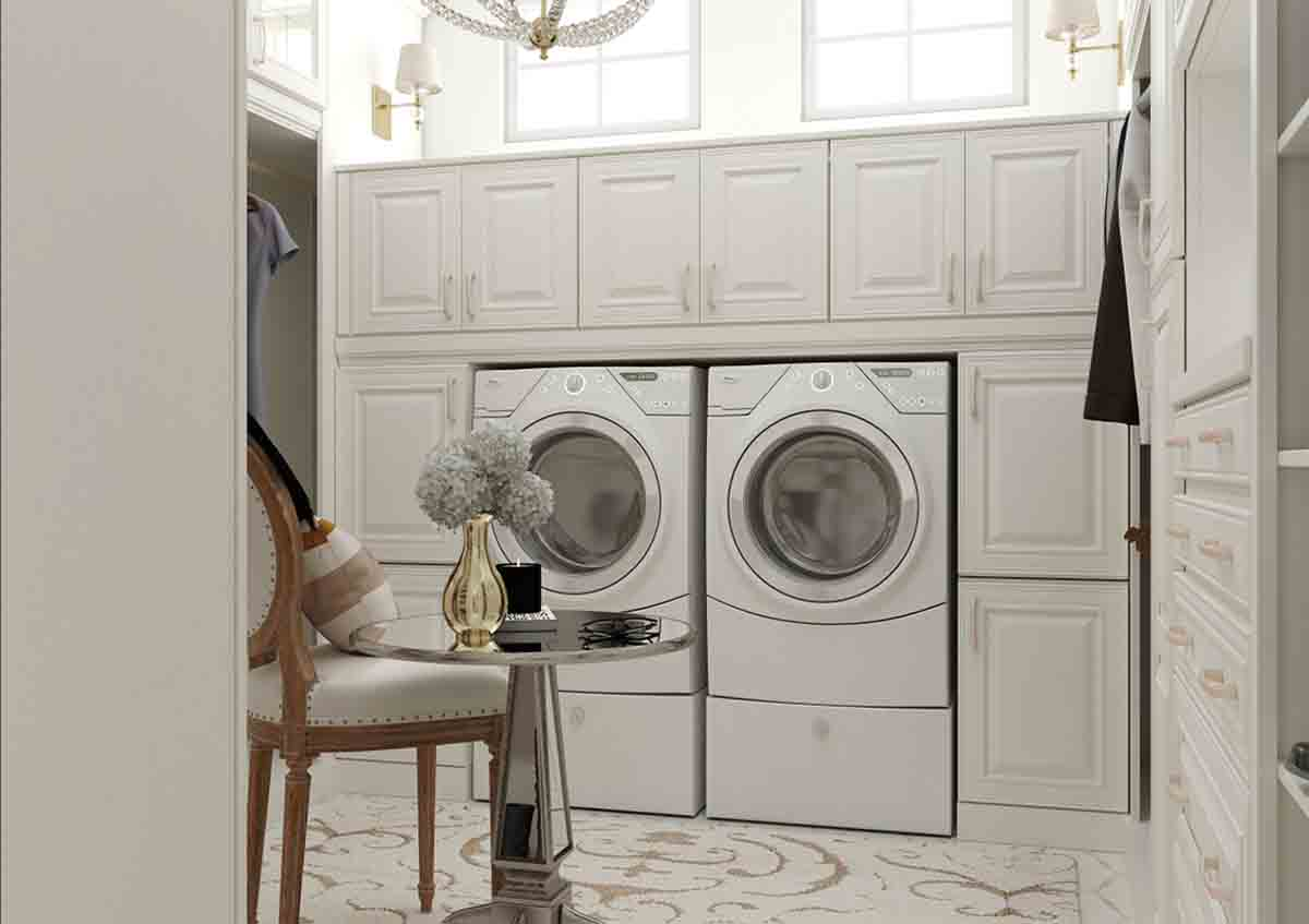 Laundry room cabinets shown in 720 Painted Linen.