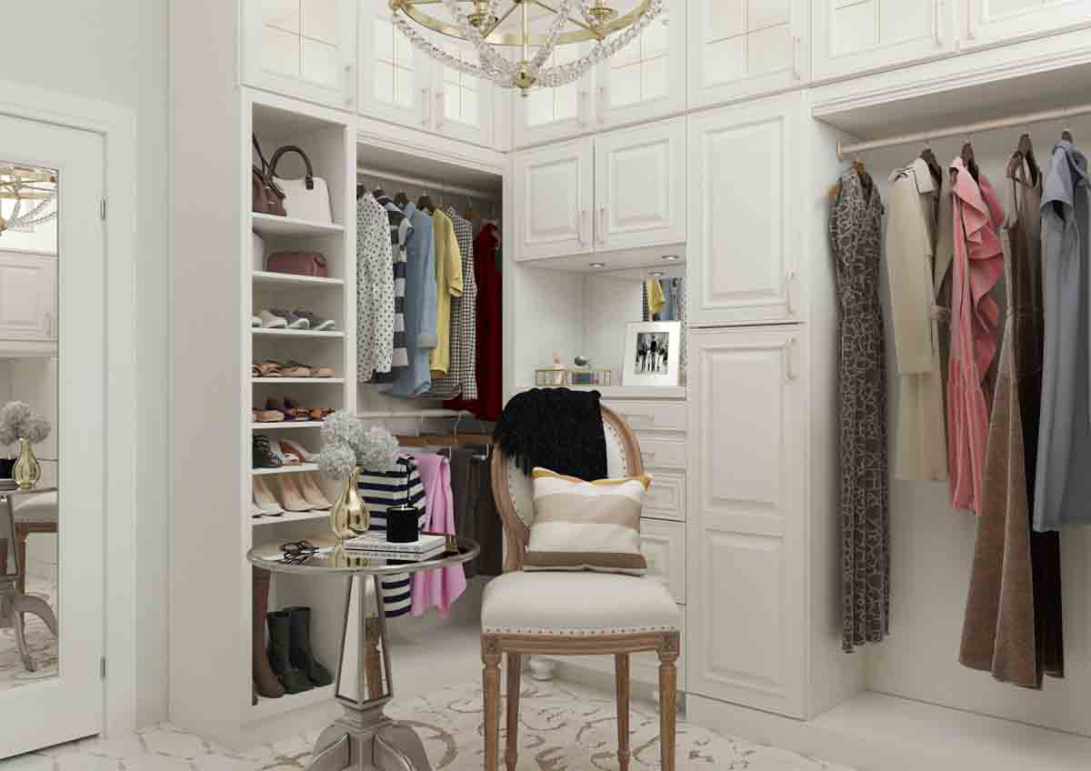 Closet cabinets shown in 720 Painted Linen.