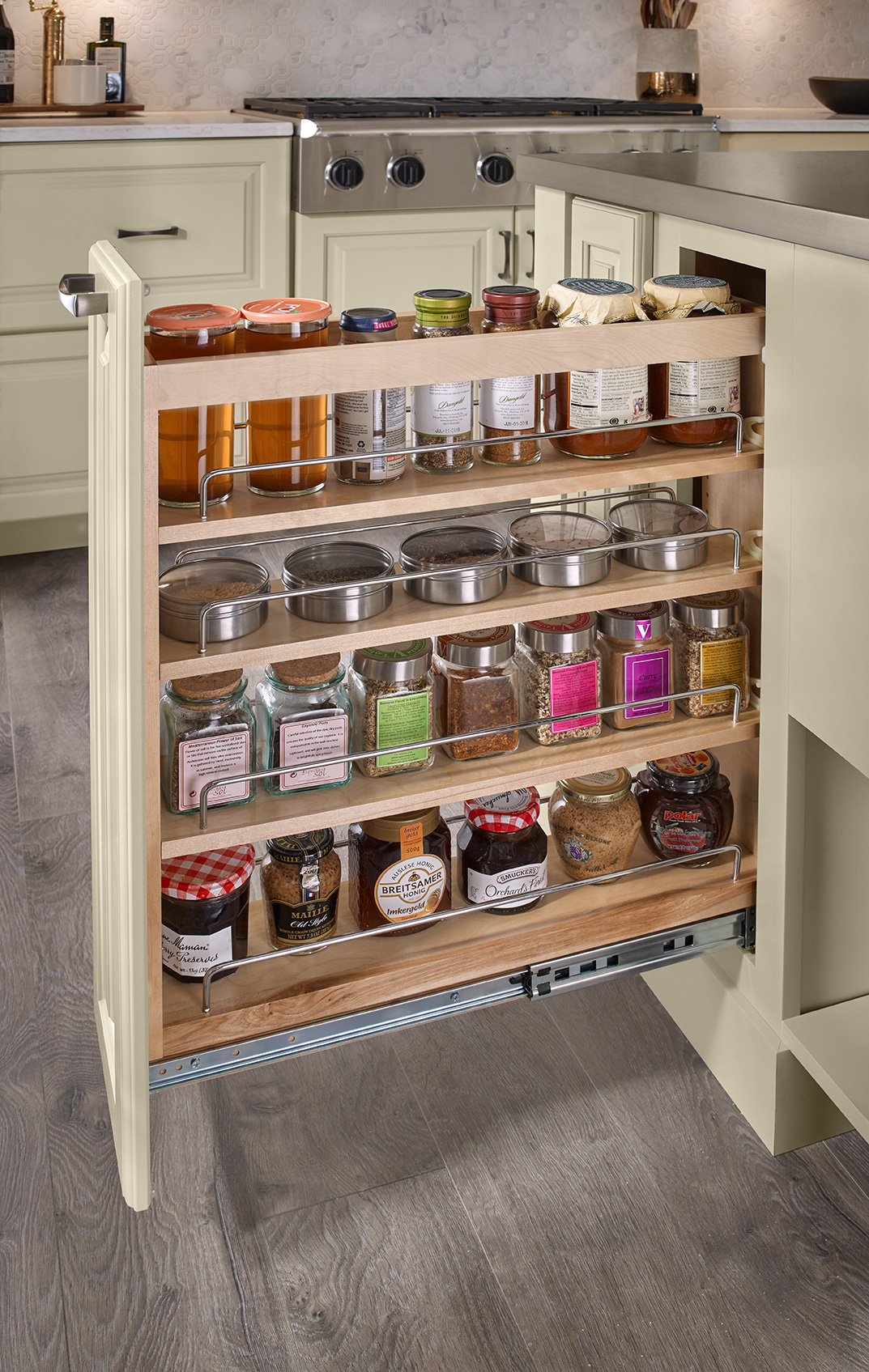 Painted Cashmere Full Height Base Pantry Pull-Out