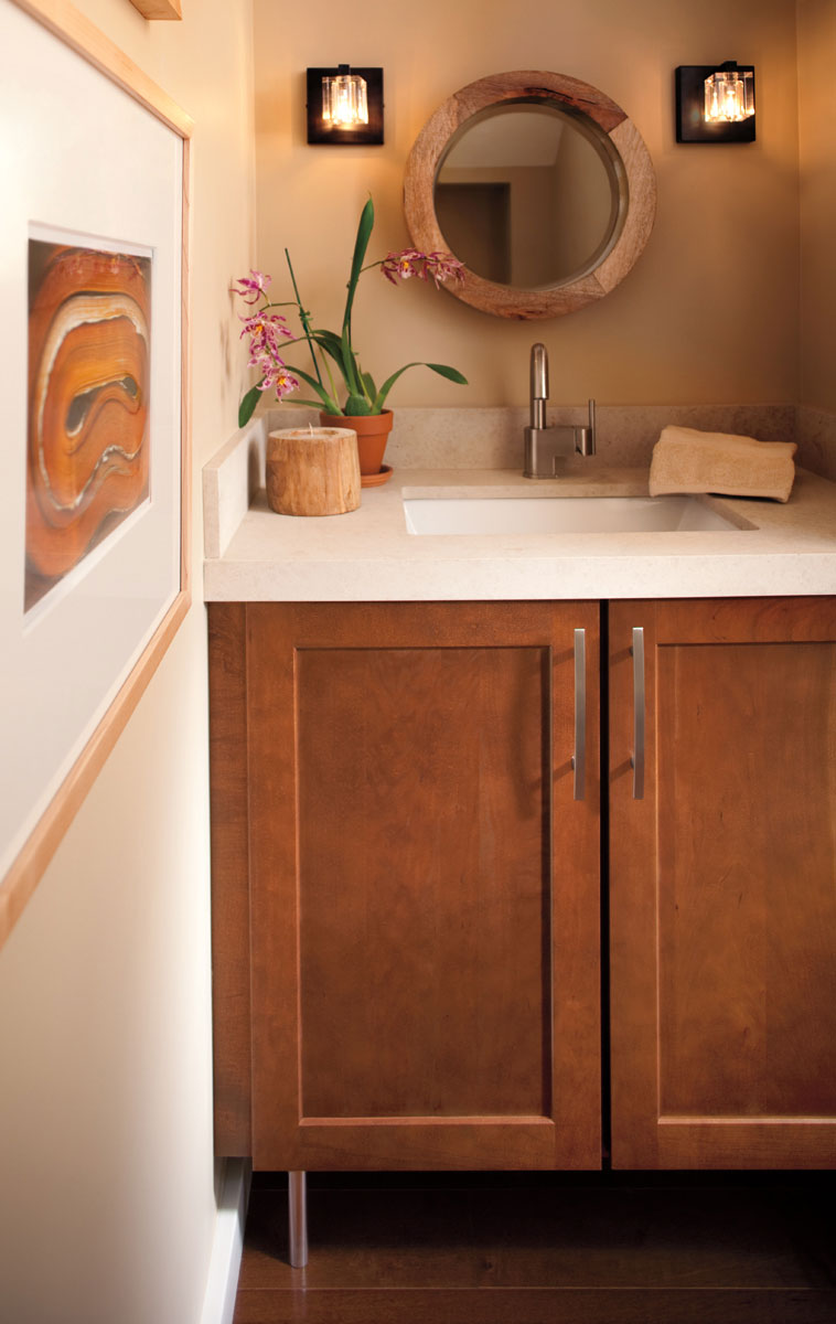 L Shaped Bathroom Vanity >> Style 630 in Cherry Spice